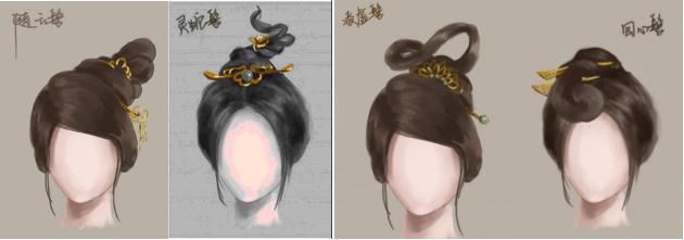 古代女生发型手绘分享展示